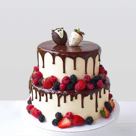 Chocolate Drip Cake with Berries