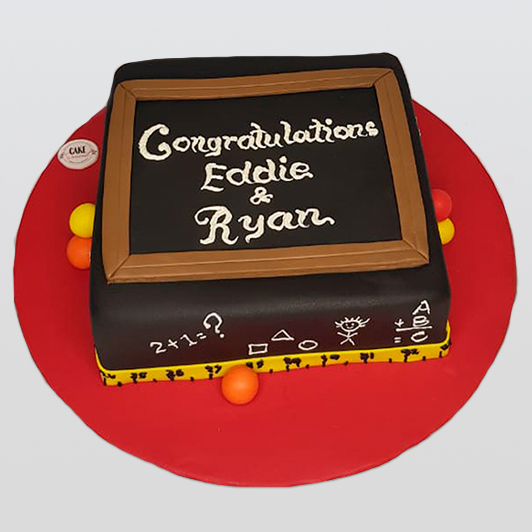 blackboard school design cake