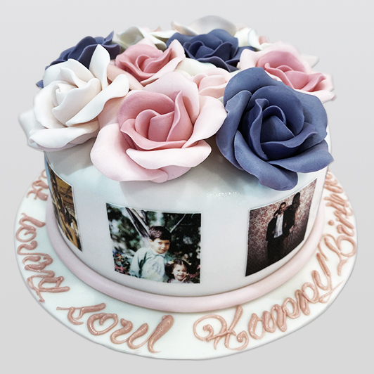 Flower bouquet cake with photos