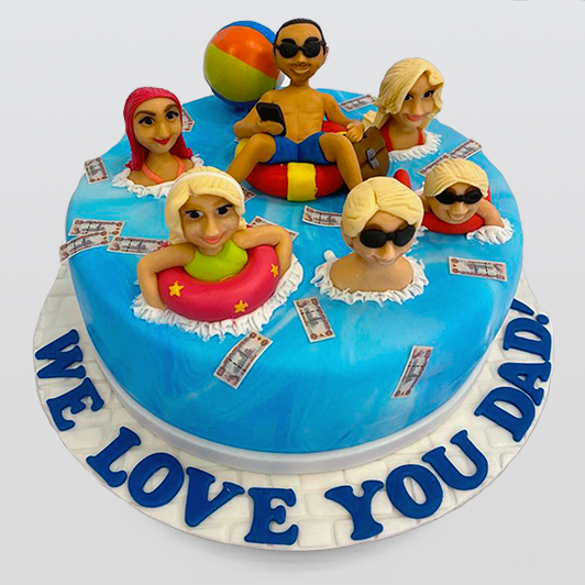 Family in pool cake