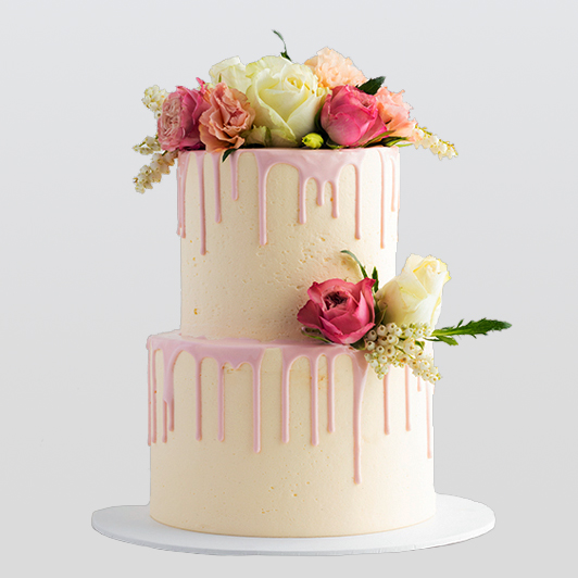 Fresh Flower 2 tier cake design
