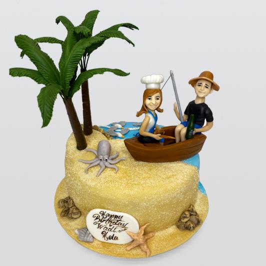 couple on boat on island
