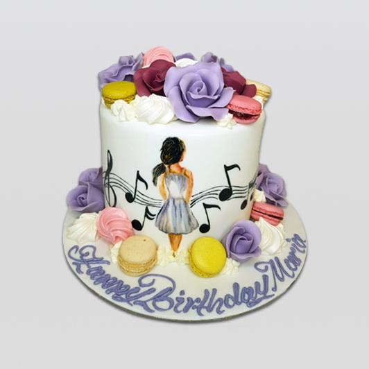 Romantic Hand Painted Lady birthday cake