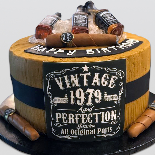 Birthday Vintage Cake with Cigar