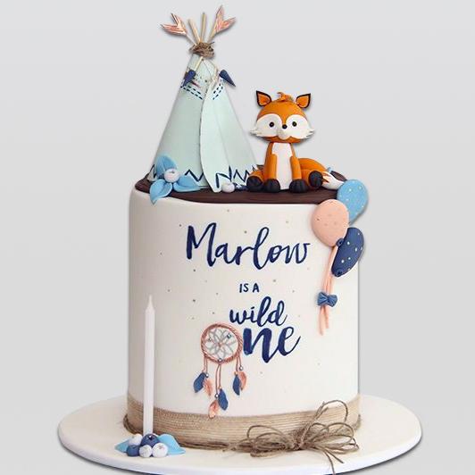 Woodland Fox and Tepee Cake