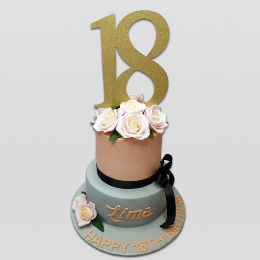 floral 2 tier birthday Cake