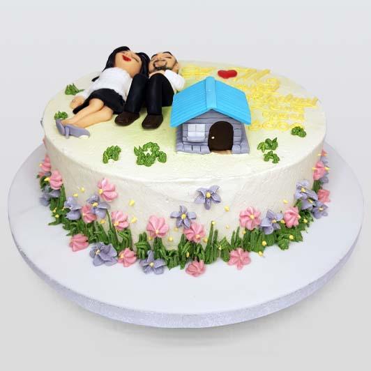 couple happy anniversary cake