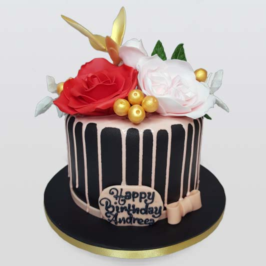 Elegant pink and red flowers birthday cake
