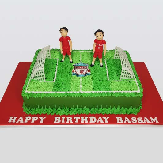 Liverpool football field theme cake