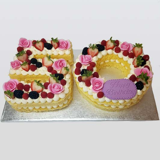 Cake number with fruits