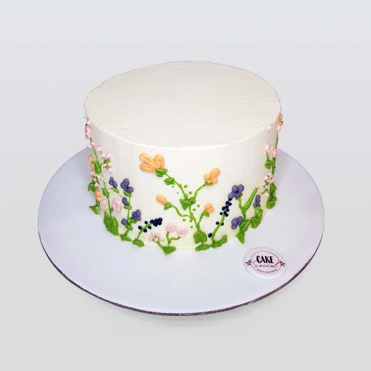 garden flower white cake