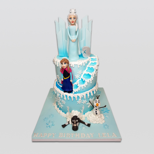 frozen 2 tier cake with stairs
