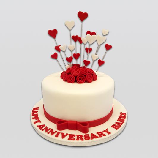 Hearts floral annivarsary cake