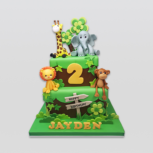 2 tier animal jungle cake