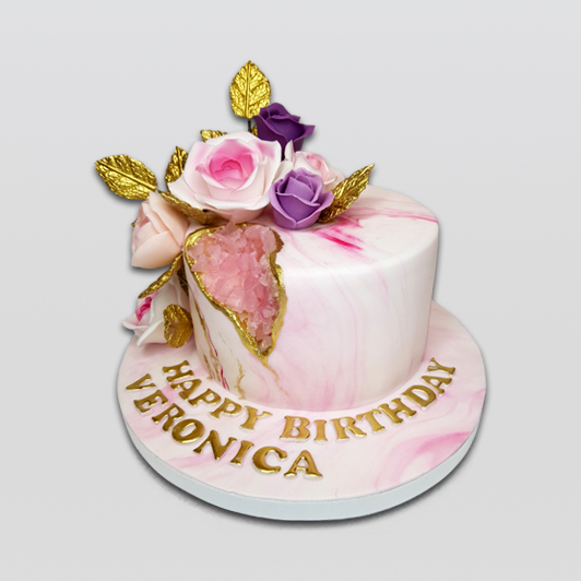 Geode Pink Floral Cake