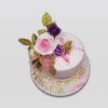 Pink Geode Floral birthday Cake