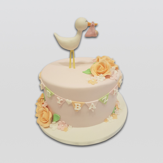 stork with baby cake