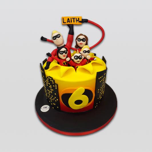 Incredibles theme birthday cake
